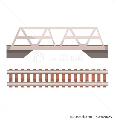 Railway bridge and railroad, rail section 30969625