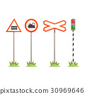 Railway intersection signs, different traffic 30969646