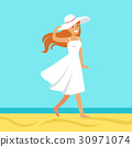 Beatuful woman in a white dress and beach hat 30971074