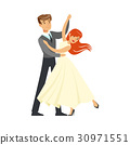 Young couple dancing waltz colorful character 30971551