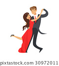 Young happy couple dancing tango colorful 30972011