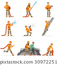 Firemen characters doing their job and saving 30972251