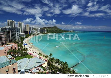 하와이의 풍경 와이키키 비치 30975587