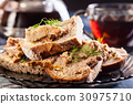Slices of bread with baked pate 30975710