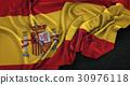 Spain Flag Wrinkled On Dark Background 3D Render 30976118