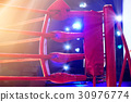 Boxing ring red corner and floodlights 30976774