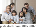 Portrait of smiling multi-generation family on sofa 30977082