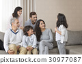 Portrait of smiling multi-generation family 30977087