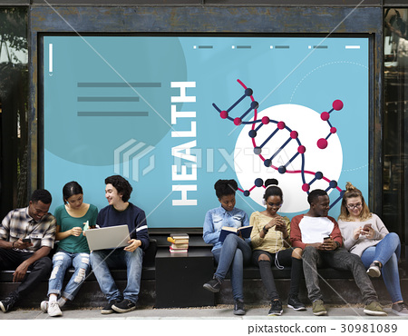 Group of students dna strand graphic on the wall 30981089