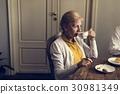 Senior Woman Drink Tea Leisure 30981349