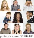 Diversity people set emotional on white background 30982401