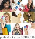 Set of Diverse Women Enjoying Sale Buy Shopping Studio Collage 30982736