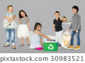 Diverse Group Of Kids Recycling Garbage 30983521