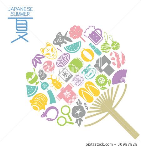 일본의 여름 부채 모양 아이콘 세트 30987828
