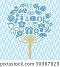 일본의 여름 부채 모양 아이콘 세트 30987829