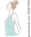 Deep breathing of female profile 30987894