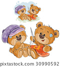 Vector illustration of two brown teddy bears 30990592