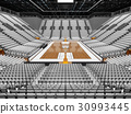 Beautiful modern basketball arena with white seats 30993445
