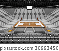 Beautiful modern basketball arena with white seats 30993450