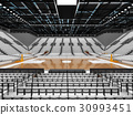 Beautiful modern basketball arena with white seats 30993451