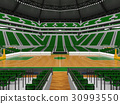 Beautiful modern basketball arena with green seats 30993550