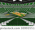 Beautiful modern basketball arena with green seats 30993551