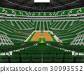 Beautiful modern basketball arena with green seats 30993552
