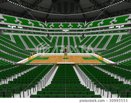 Beautiful modern basketball arena with green seats 30993553