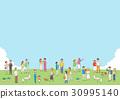 광장과 젊은 사람들의 일러스트 30995140