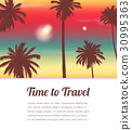 Travel background with exotic landscape. Vector 30995363