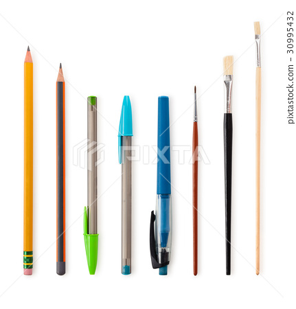 Set  of pencils and  paintbrushes. 30995432