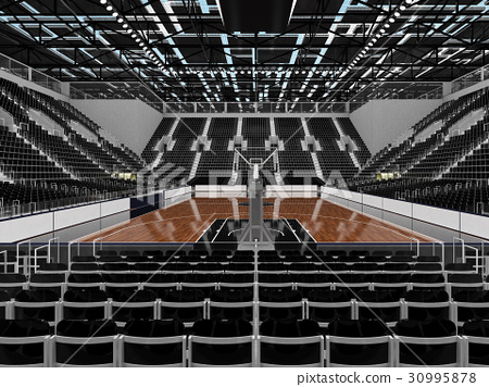 Beautiful modern basketball arena with black seats 30995878