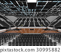 Beautiful modern basketball arena with black seats 30995882
