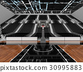 Beautiful modern basketball arena with black seats 30995883