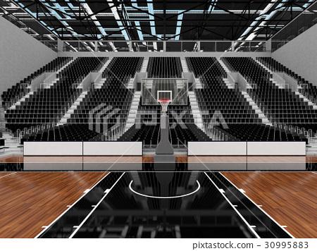 Beautiful modern basketball arena with black seats 30995883