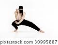 Ninja on white background. Male fighter in black 30995887