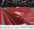 Beautiful modern basketball arena with red seats 30995966