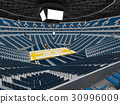 Beautiful modern basketball arena with blue seats 30996009