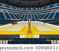 Beautiful modern basketball arena with blue seats 30996011