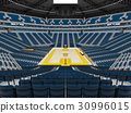 Beautiful modern basketball arena with blue seats 30996015