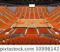 Large modern basketball arena with orange seats 30996142