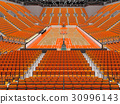 Large modern basketball arena with orange seats 30996143