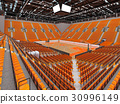 Large modern basketball arena with orange seats 30996149