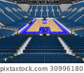 Beautiful modern basketball arena with blue seats 30996180