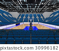 Beautiful modern basketball arena with blue seats 30996182