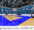 Beautiful modern basketball arena with blue seats 30996187