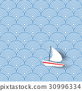 Boat sailing on blue wave sea seamless pattern 30996334