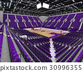 Large modern basketball arena with purple seats 30996355