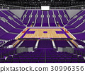 Large modern basketball arena with purple seats 30996356