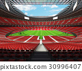 Beautiful modern rugby stadium with red seats 30996407